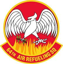 Graphic of the official Heraldry of the 64th Air Refueling Squadron