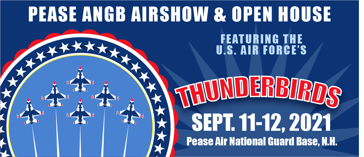Graphic promoting the Pease Air National Guard Base airshow in Fall of 2021